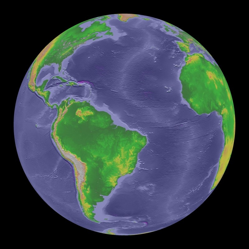 ETOPO2 Topography and Bathymetry color enhanced Dataset Science