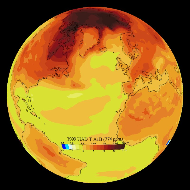 Climate Model: Temperature Change (Hadley a1b) - 1860 - 2099 thumbnail