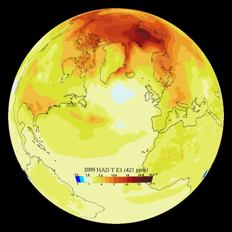 Climate Model: Temperature Change (Hadley e1) - 1860 - 2099 thumbnail
