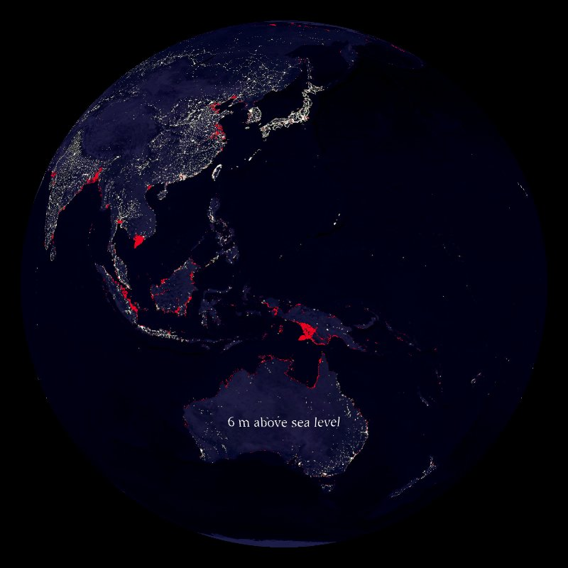 Sea Level Rise: Impact of 6 meter (red) thumbnail